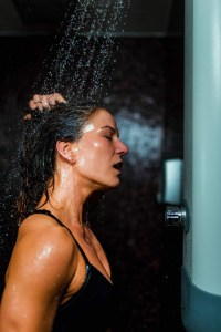 beautiful woman taking a shower