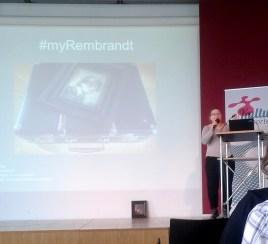 Antje Lange präsentiert MyRembrandt auf dem stARTcamp München
