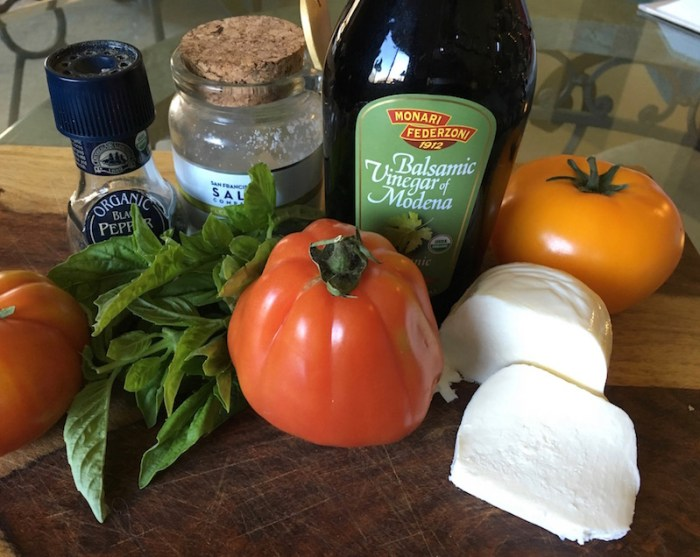 Ingredients for a classic caprese salad.