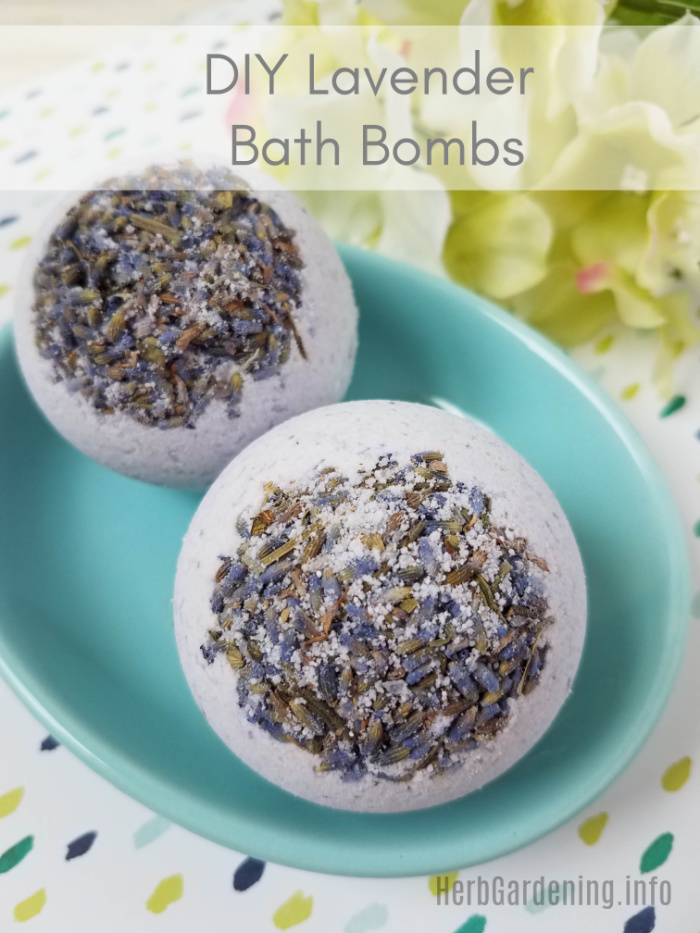 DIY Lavender Bath Bombs with Dried Lavender Flowers.