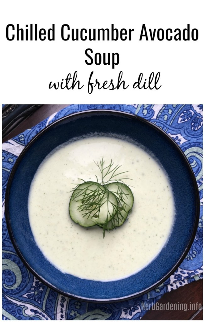 Chilled Cucumber Avocado Soup With Fresh Dill #summerrecipes #souprecipes