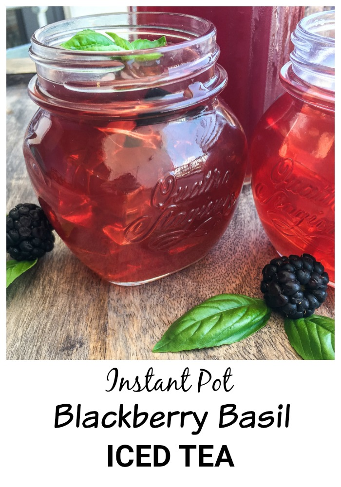 This Blackberry Basil Iced Tea recipe is quick and easy to make with your Instant Pot, and is a delicious refreshing drink for summer.