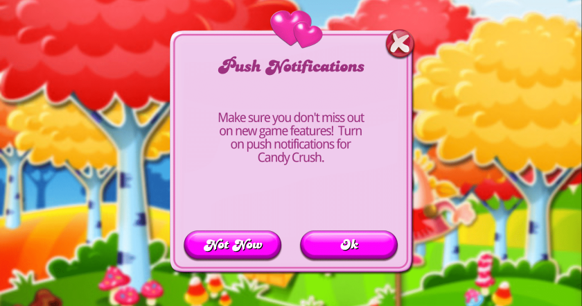Candy Crush Push Notification Permissions