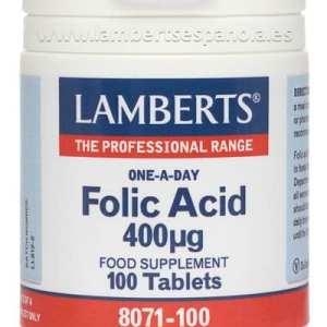 Ácido Fólico 400 mcg – Lamberts – 100 comprimidos