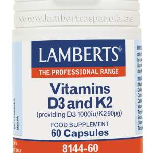 Vitamina D3 y K2 – Lamberts – 60 cápsulas