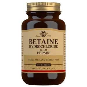 Betaína Clorhidrato con Pepsina – Solgar – 100 comprimidos