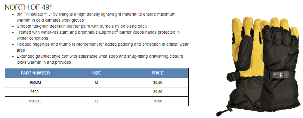 north of 49 work gloves ppe hand protection safety