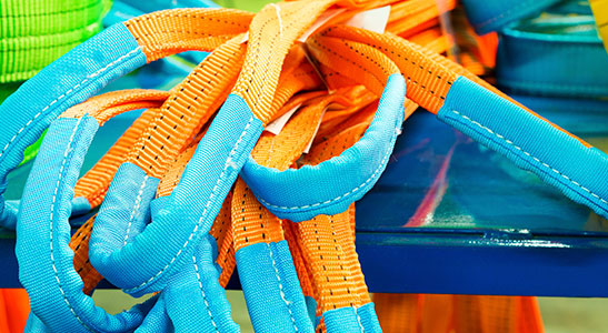 orange and blue synthetic round slings