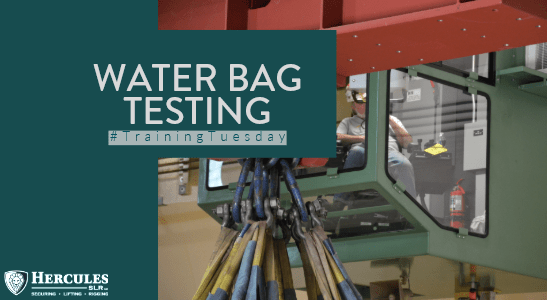 water bag testing with crane
