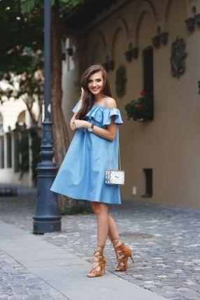 blue off dress