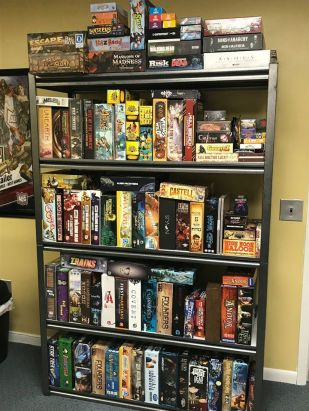 Some of the games that will be for sale in the January 25, 2020 Game Auction at Here Be Books & Games