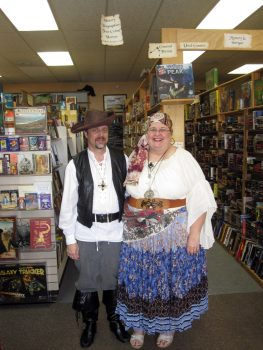 Owners Tim and Tina dressed up for costumed Halloween Game Night
