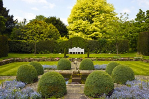 Formal garden with boxwood spheres, hedges and a white bench