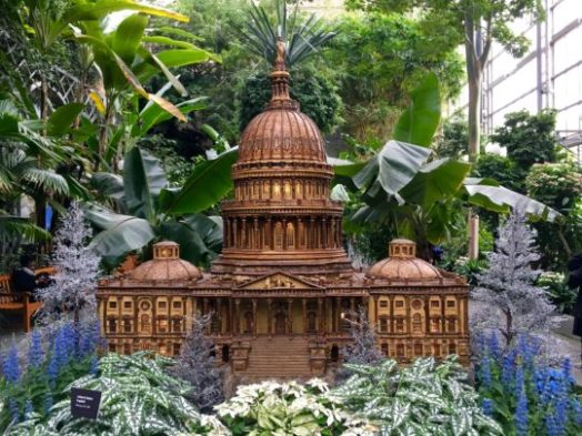 U.S. Capitol made from plant-based materials at the U.S. Botanic Garden's annual holiday display