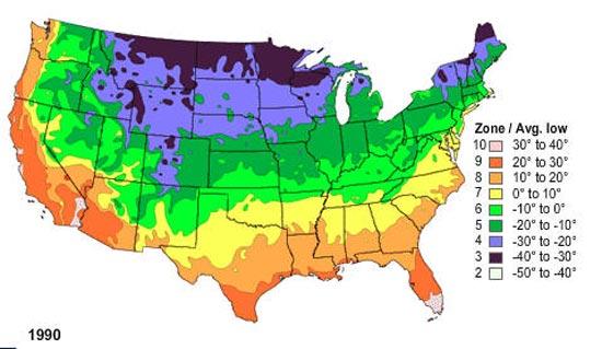 1990 USDA Plant Hardiness Zone Map