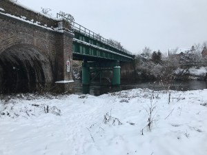 Hereford Railway bridge in the snow