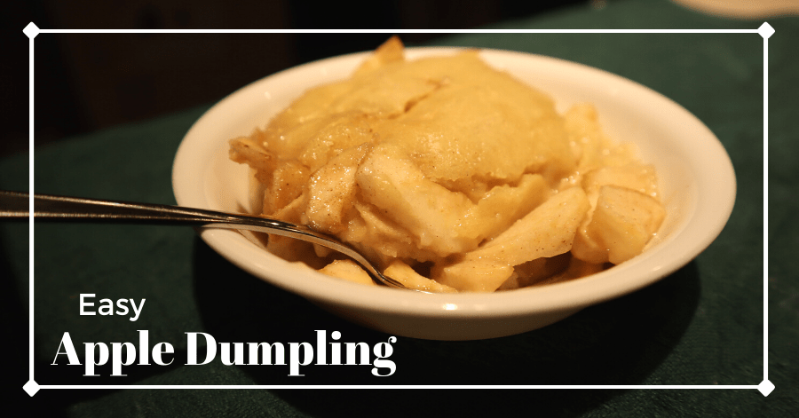 Easy apple dumpling served in a small dish