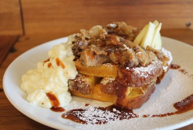bread pudding with side of ice cream