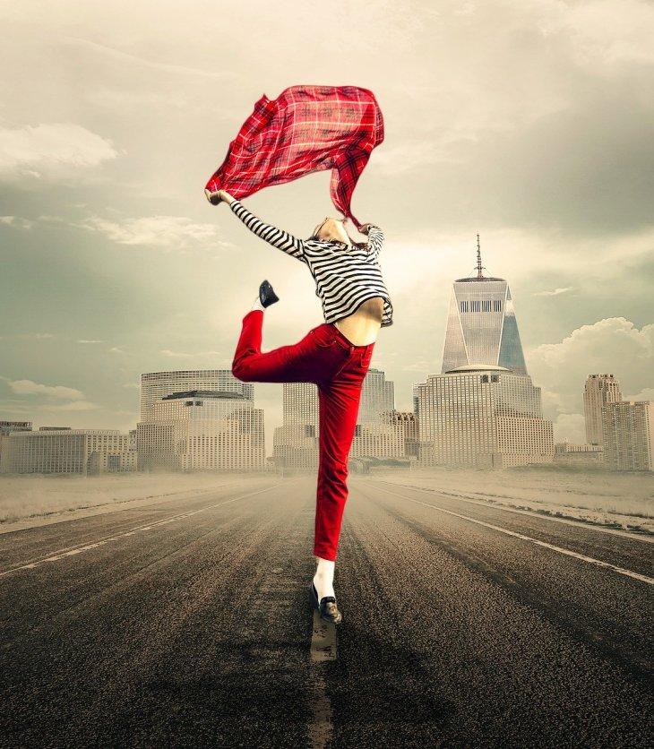 woman dancing in street