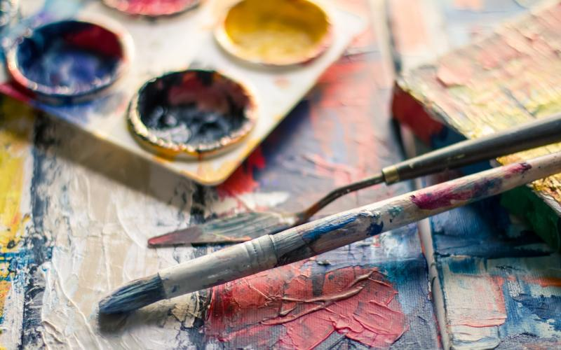paint and paintbrushes