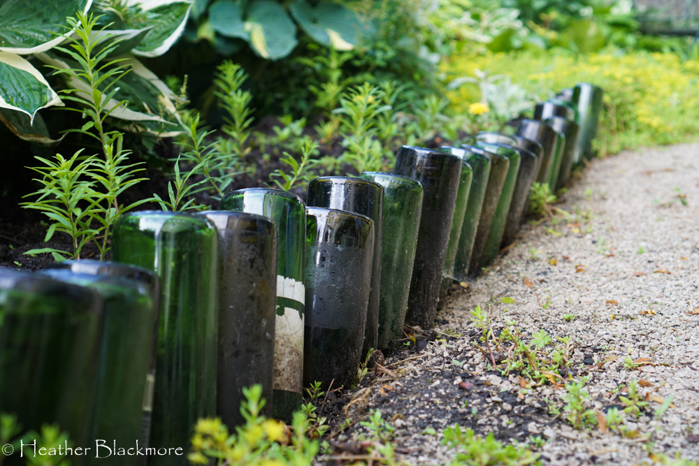 Wine bottle garden art