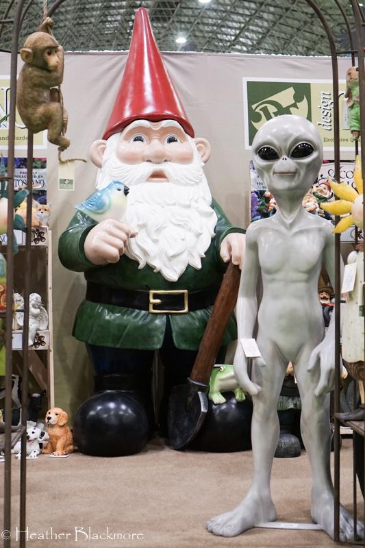 Alien and gnome garden art