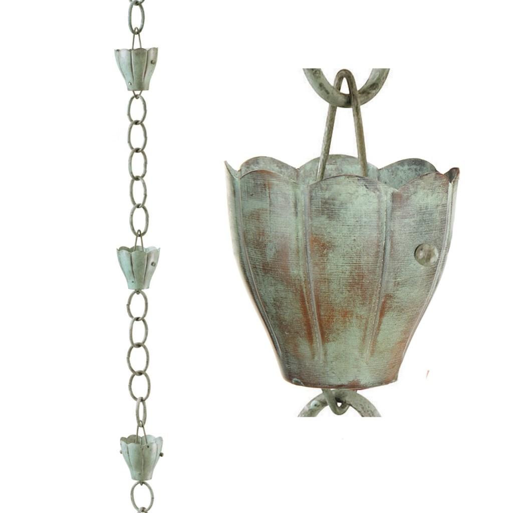 Verdigris copper rain chain