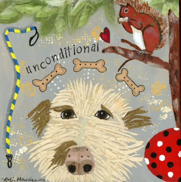 Labradoodle, mixed media print, mixed media dog, leash, squirrel, red ball, tree, Unconditional Love