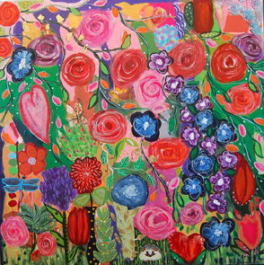 Floral - Fine Art Print, Intuitive Painting, mixed media painting, colorful floral painting, roses, buds, hedgehog, hearts, pinks, reds, greens blues, purples, Awakened,