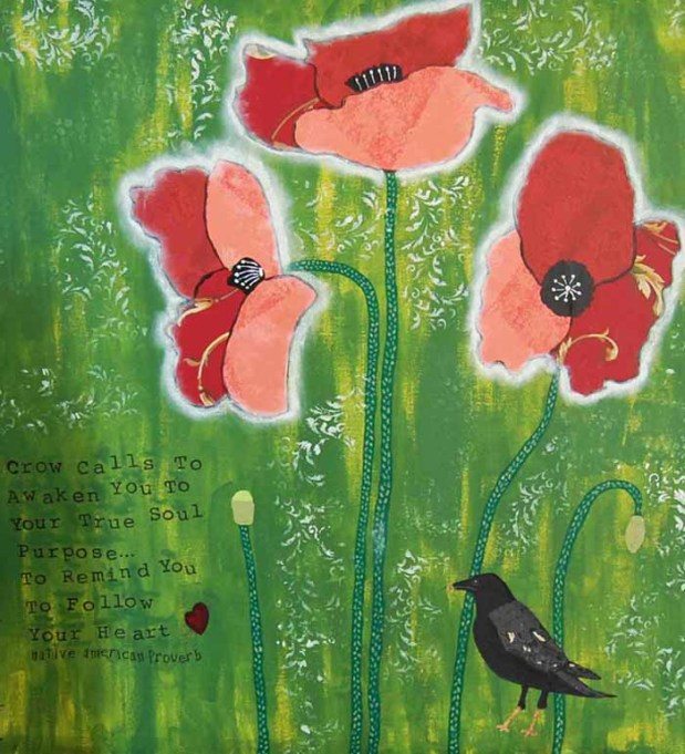Burgundy Poppies and Crow