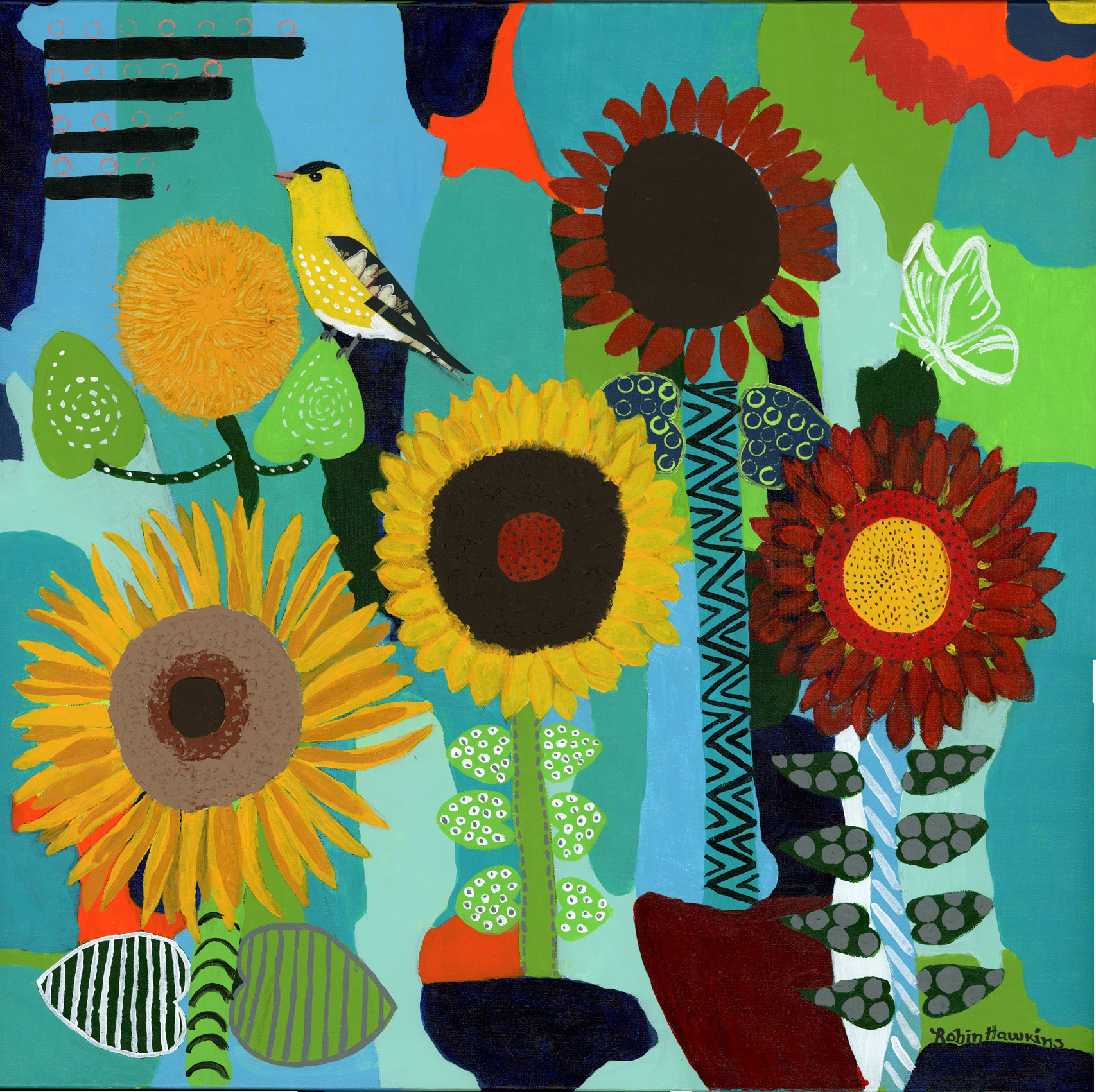 Five different sunflowers with geometric qualities.  The backgrounds are various shades of turquoise.  A goldfinch, white butterfly and a sun are also in the picture.