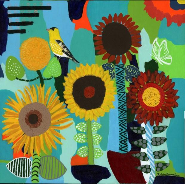 Sunflowers - Fine Art Print.... mixed media art, intuitive art, sunflowers, goldfinch, turquois, green, orange, texture, geometrics, Sunflowers on my Mind