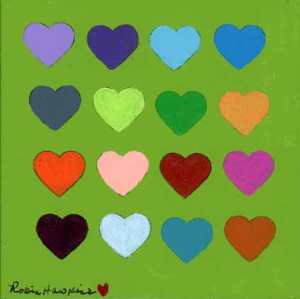 multicolored hearts - Fine Art Print 7.5 X 7.5 print, green background, 12 multicolored hearts, Equality
