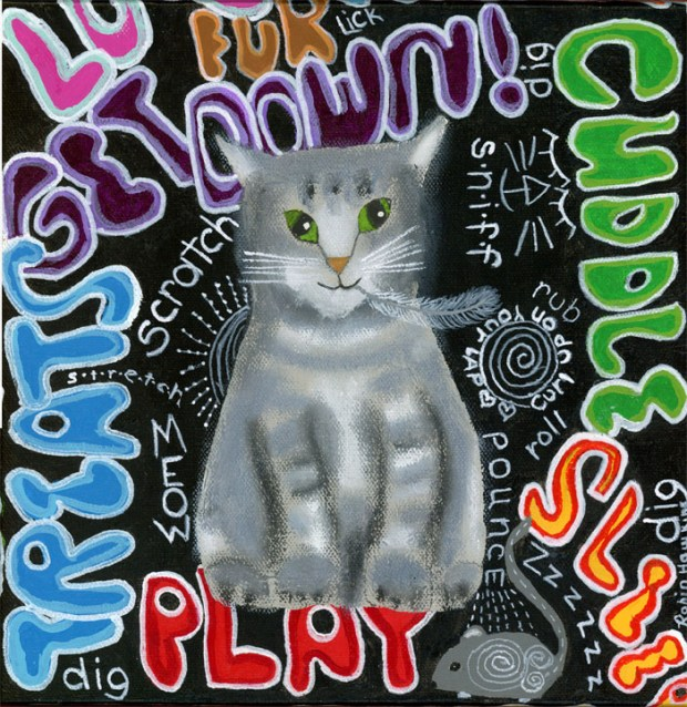 grey tiger cat, cat print, grafitti, colorful words, grafitti cat, fine art print, mixed media