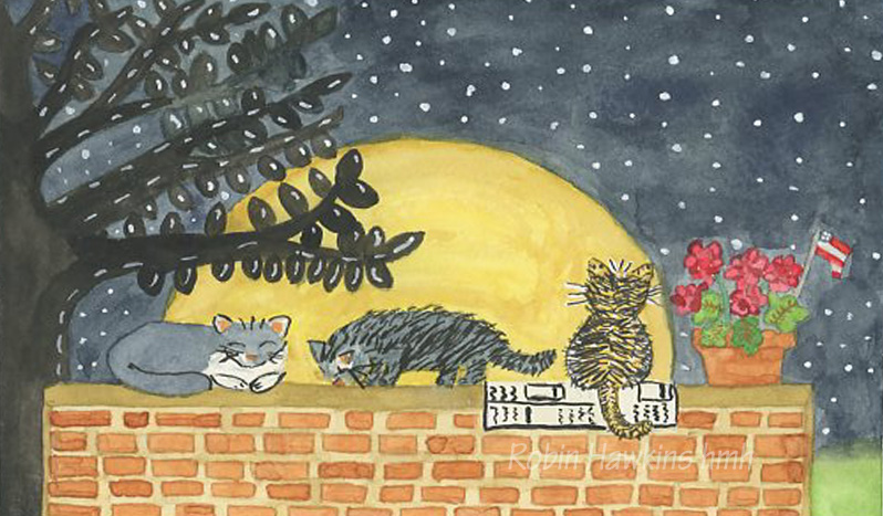 Three different cats on a brick wall, sleeping, eating and looking at the huge moon and starry night.  A pot of geraniums with an American flag.