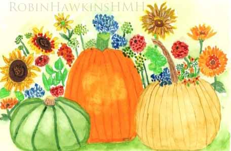 A garden with two different pumpkins and a green gourd.  Zinnias, sunflowers, galardias and others. Done in watercolor