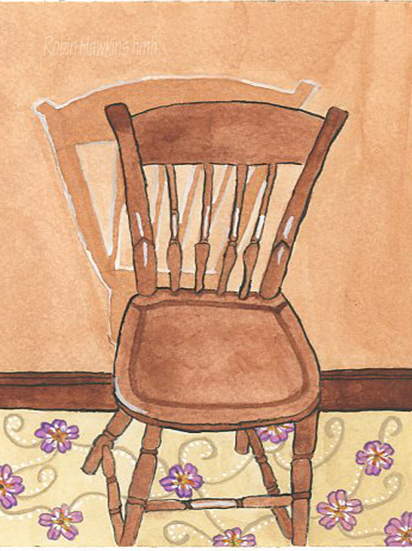 Thumbnail chair, early american chair, brown chair, watercolor painting, shadow, decorative carpet, fine art reproduction