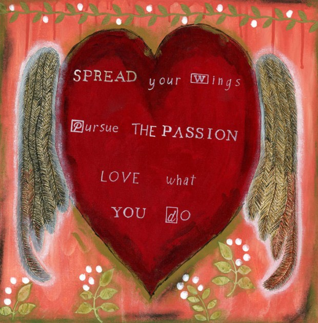 Pursue the Passion, Red Heart, Wings, Words, mixed media, fine art reproductions, art print