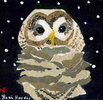 A small barred owl created with paint and wallpaper.