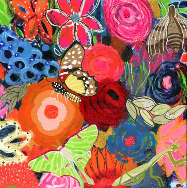 Colorful, bold flowers and insects
