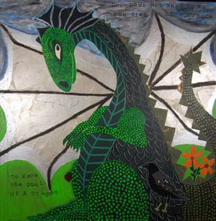A large green dragon with a crow as a side kick.