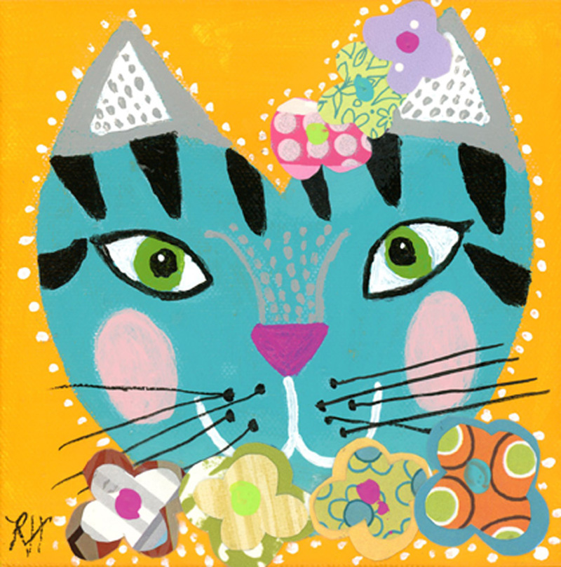 A whimsical teal cat face with a flower collar and flowers on her head.  She also has olive green eyes and a pink nose.