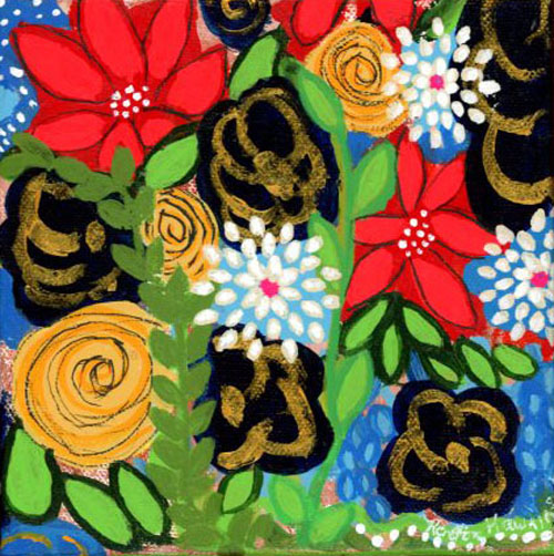 Flowers that completely cover the whole canvas in primary colors. Blue, white, red, yellw and green.