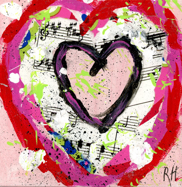 Multilayered heart in mixed media.  Music and floral papers, red and majenta.