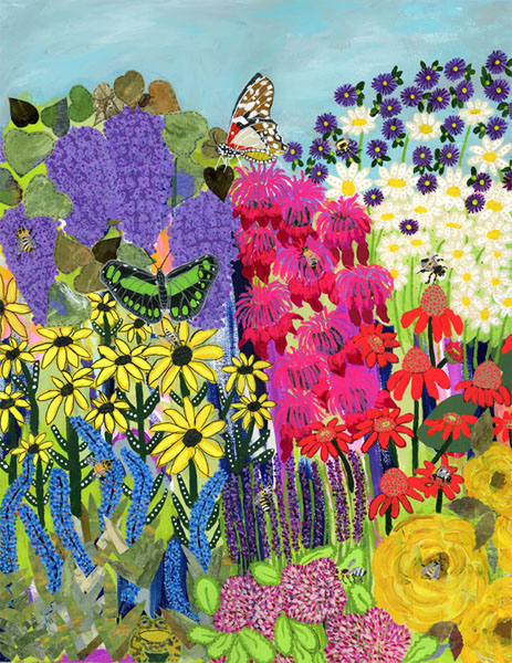 A colorful flower garden with two butterflies, bees and a frog at the bottom.