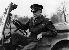 December 1944, Probably England, UK --- General Eisenhower Behind the Wheel of a Jeep --- Image by © Hulton-Deutsch Collection/CORBIS
