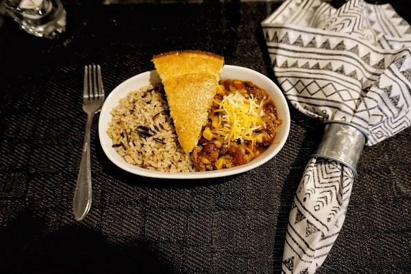 rice chili cornbread
