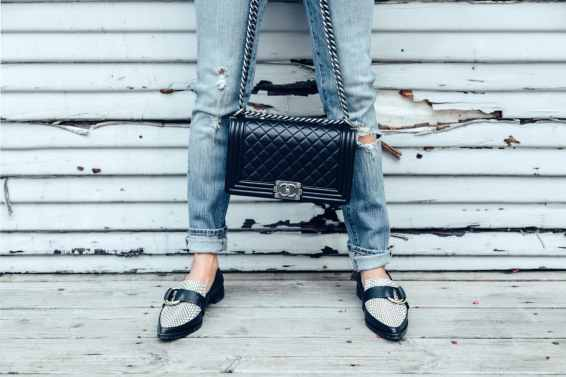 Mensware loafers with chanel boy bag