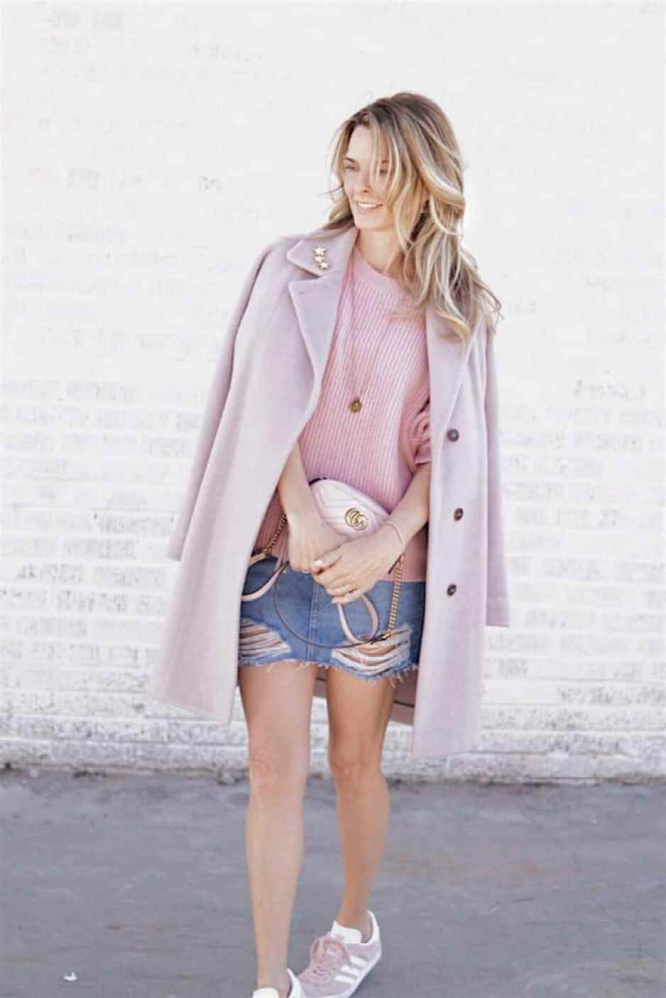 Pink Coat, Pink Sweater, Denim Skirt, Gucci Bag and Pink Adidas Sneakers - Valentine's Day Style | Her Styled View