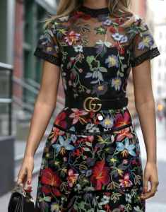 floral trend for 2018 with Gucci belt